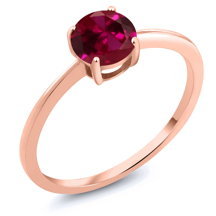 10k Rose Gold Red Created Ruby Rose Gold Women's Solitaire Ring 1.00 Ct Round (Available 5,6,7,8,9)