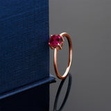 10K Rose Gold 1.00 Ct Round Red Created Ruby Solitaire Engagement Ring