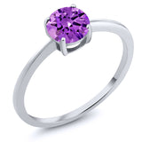 Gem Stone King 10K White Gold 1.50 Ct Round Purple Zirconia Solitaire Engagement Ring