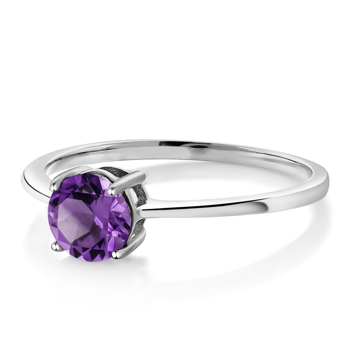 10K White Gold 1.50 Ct Round Purple Zirconia Solitaire Engagement Ring