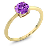 Gem Stone King 10K Yellow Gold 1.50 Ct Round Purple Zirconia Solitaire Engagement Ring