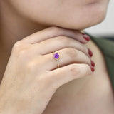 10K Yellow Gold 1.50 Ct Round Purple Zirconia Solitaire Engagement Ring