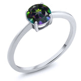 Gem Stone King 10K White Gold 1.00 Ct Round Green Mystic Topaz Solitaire Engagement Ring
