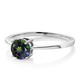 10K White Gold 1.00 Ct Round Green Mystic Topaz Solitaire Engagement Ring