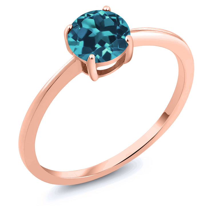 Gem Stone King 10K Rose Gold 0.75 Ct Round London Blue Topaz Women's Solitaire Ring (Available 5,6,7,8,9)