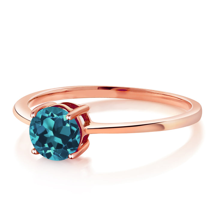10K Rose Gold 1.10 Ct Round London Blue Topaz Solitaire Engagement Ring