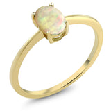 0.51 Ct Oval Cabochon White Ethiopian Opal 10K Yellow Gold Solitaire Engagement Ring (Available 5,6,7,8,9)