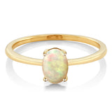 0.51 Ct Oval Cabochon Ethiopian Opal 10K Yellow Gold Solitaire Engagement Ring