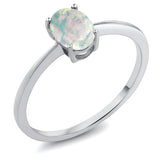0.63 Ct Oval Cabochon White Simulated Opal 10K White Gold Ring (Available 5,6,7,8,9)