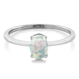 0.63 Ct Oval Cabochon White Simulated Opal 10K White Gold Ring