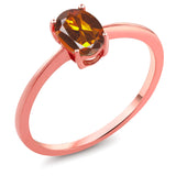 Gem Stone King 0.70 Ct Oval Orange Red Madeira Citrine 10K Rose Gold Ring