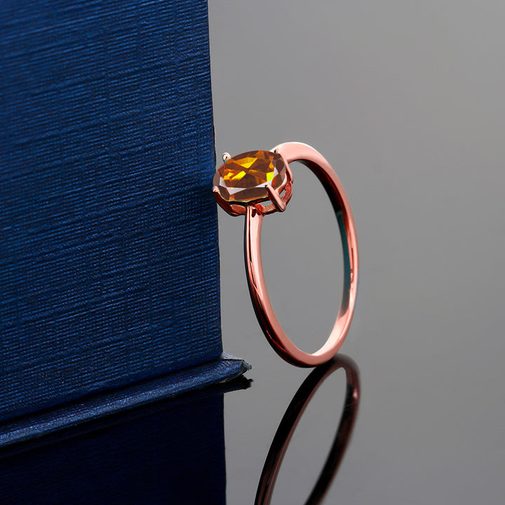 0.70 Ct Oval Orange Red Madeira Citrine 10K Rose Gold Ring