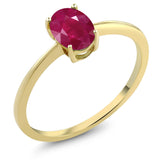 Gem Stone King 1.02 Ct Oval Red Ruby 10K Yellow Gold Solitaire Engagement Ring (Available 5,6,7,8,9)