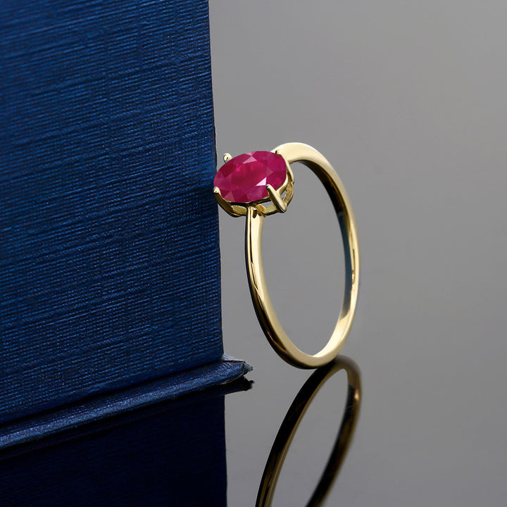 1.02 Ct Oval Red Ruby 10K Yellow Gold Solitaire Engagement Ring