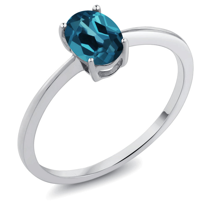Gem Stone King 0.90 Ct Oval London Blue Topaz 10K White Gold Solitaire Engagement Ring