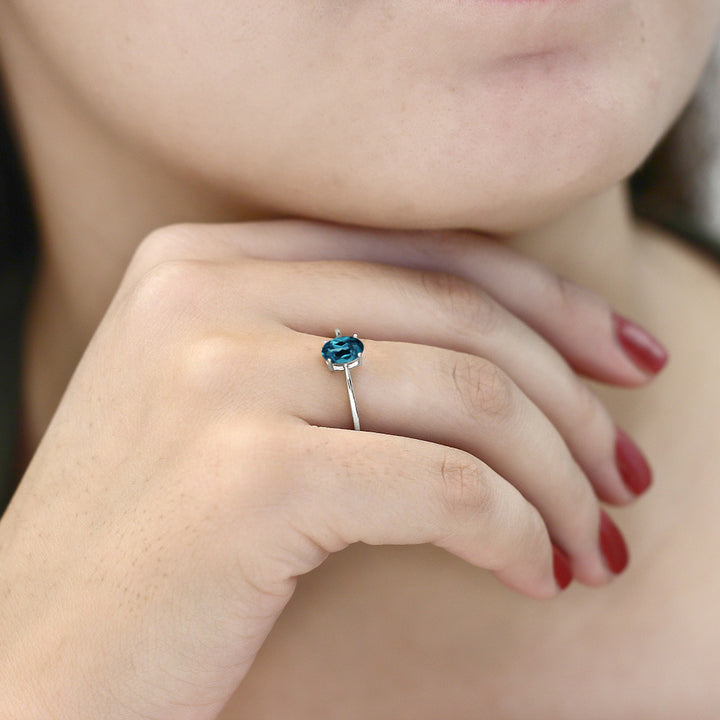 0.90 Ct Oval London Blue Topaz 10K White Gold Solitaire Engagement Ring