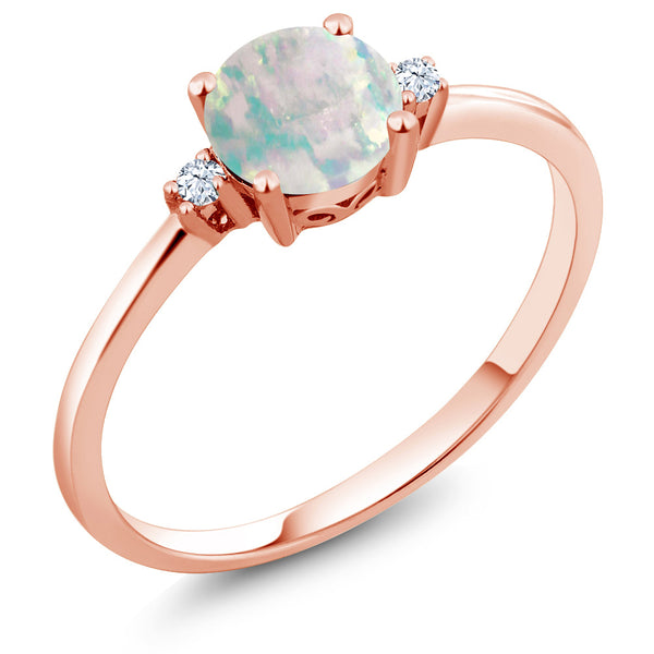 f262b46d4 0.33 Ct Cabochon White Simulated Opal White Created Sapphire 10K Rose Gold  Ring