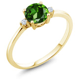 Gem Stone King 10K Yellow Gold Engagement Solitaire Ring set with 1.53 Ct Round Green Zirconia and White Created Sapphires