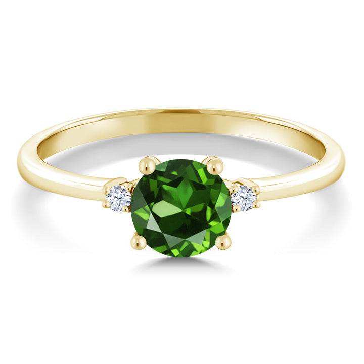 1.53 Ct Round Green Zirconia White Created Sapphire 10K Yellow Gold Ring