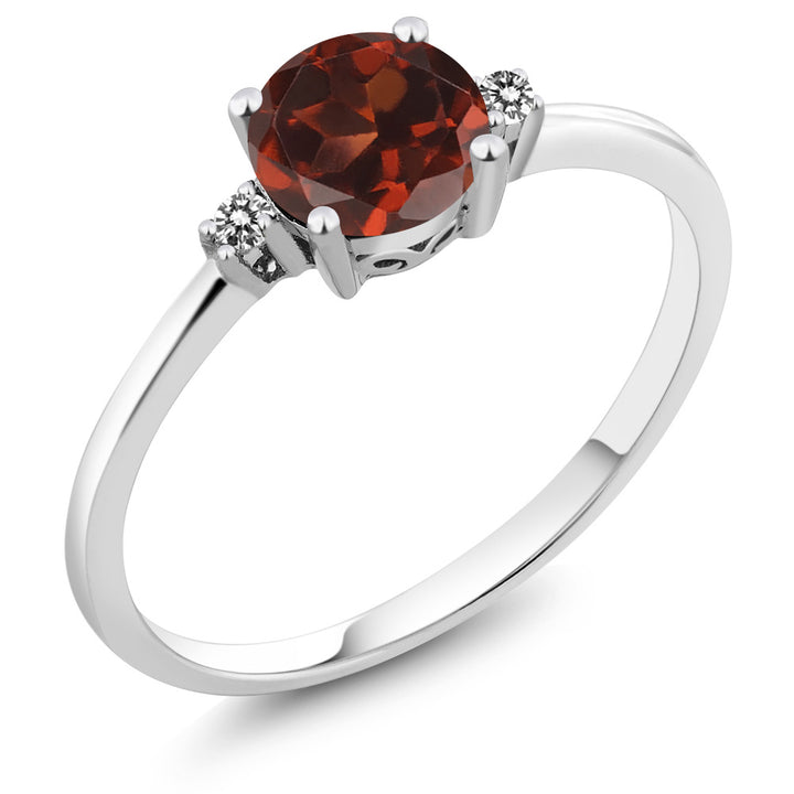 Gem Stone King 10K White Gold Engagement Solitaire Ring set with 1.03 Ct Round Red Garnet and White Diamonds (Available 5,6,7,8,9)