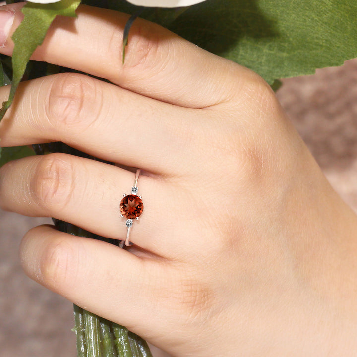 10K White Gold Diamond Accent Ring Round Red Garnet (1.03 cttw)