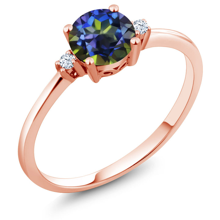 Gem Stone King 10K Rose Gold Engagement Solitaire Ring set with 1.03 Ct Round Blue Mystic Topaz and White Created Sapphires