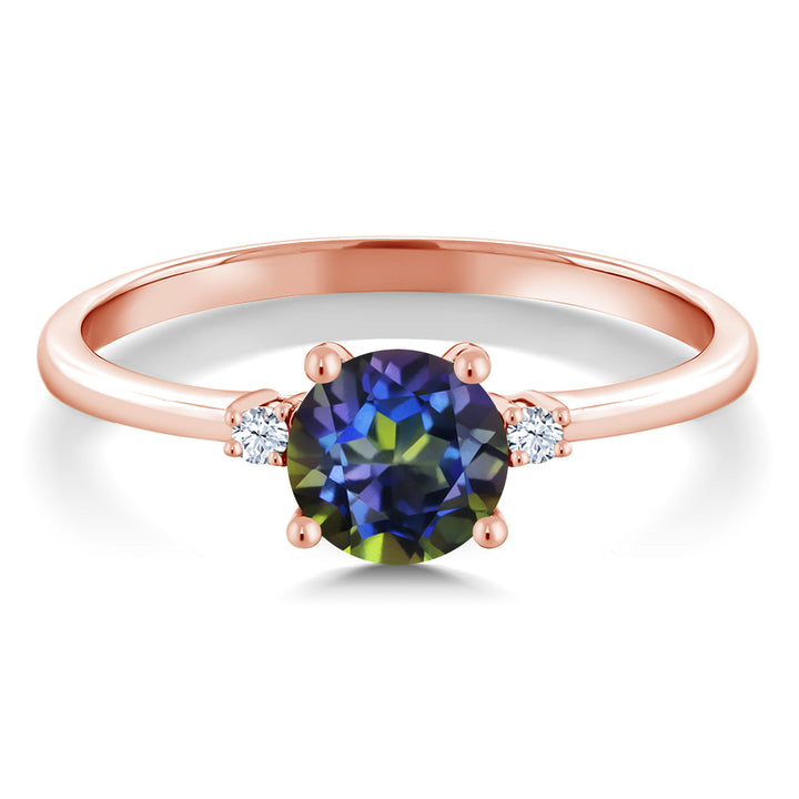 1.03 Ct Round Blue Mystic Topaz White Created Sapphire 10K Rose Gold Ring