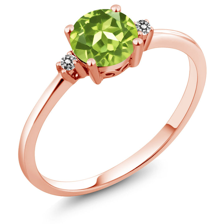 10K Rose Gold Engagement Solitaire Ring set with 0.88 Ct Round Green Peridot and White Diamonds