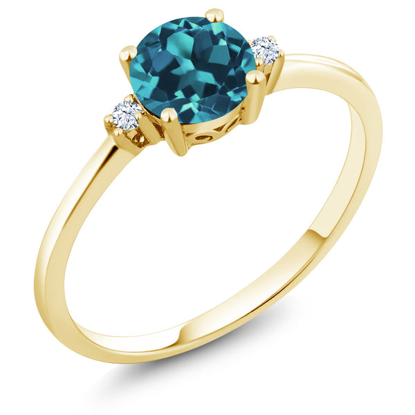 10K Yellow Gold 0.78 Ct Round London Blue Topaz White Created Sapphire Ring