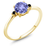Gem Stone King 10K Yellow Gold Engagement Solitaire Ring set with 0.93 Ct Round Blue Tanzanite and Black Diamonds