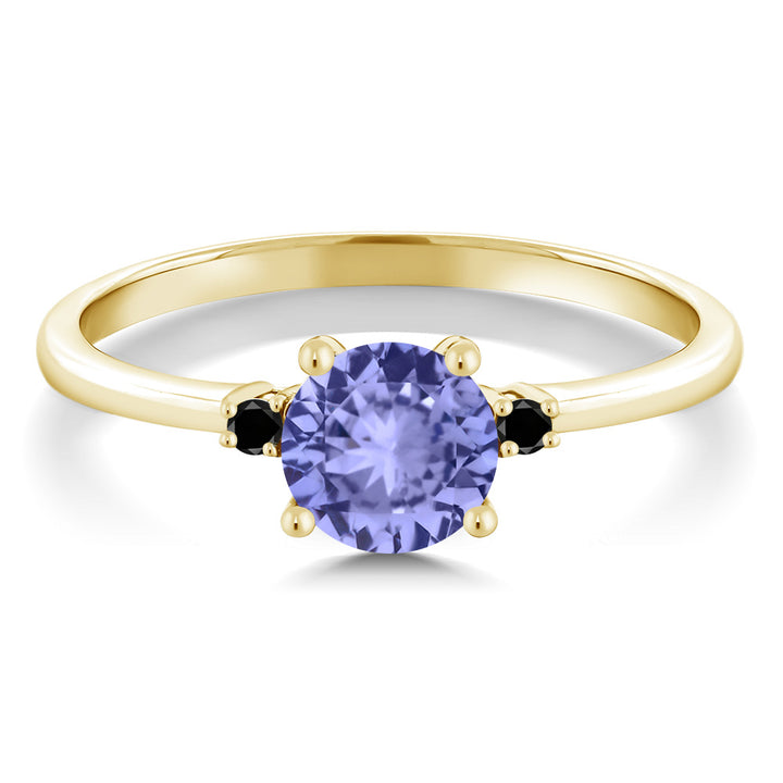 0.93 Ct Round Blue Tanzanite Black Diamond 10K Yellow Gold Ring