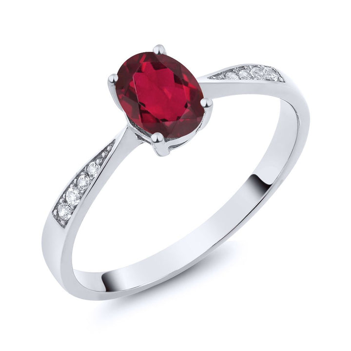 Gem Stone King 10K White Gold Diamond Ring with 0.86 Ct Oval Red Mystic Topaz (Available 5,6,7,8,9)