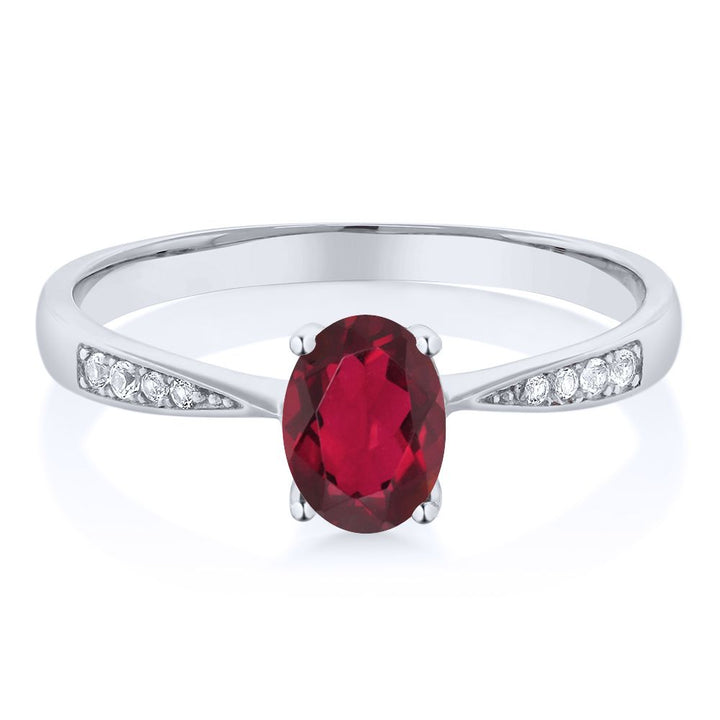 10K White Gold Diamond Ring with 0.86 Ct Oval Red Mystic Topaz