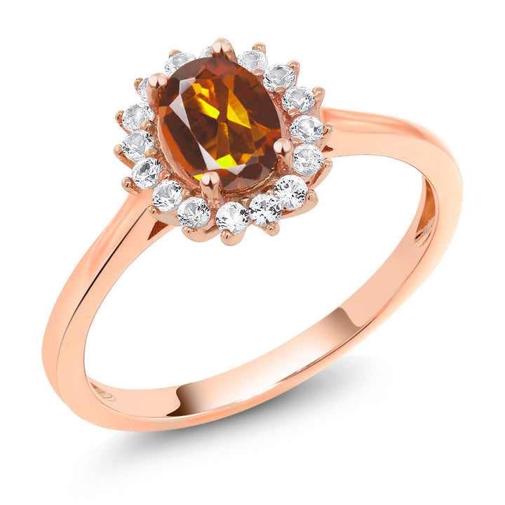 Gem Stone King 10K Rose Gold 0.94 Ct Orange Red Madeira Citrine White Created Sapphire Ring