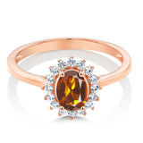 10K Rose Gold 0.94 Ct Orange Red Madeira Citrine White Created Sapphire Ring