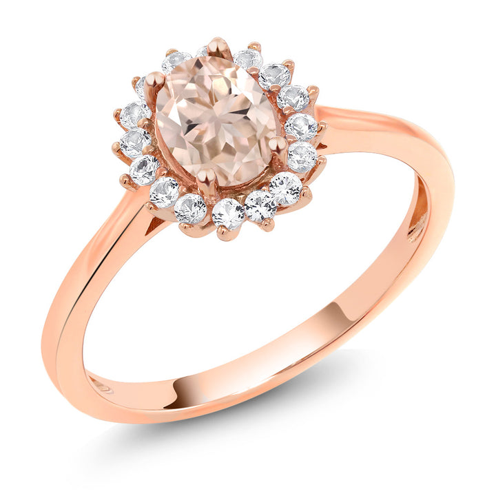 Gem Stone King 0.89 Ct Oval Peach Morganite White Created Sapphire 10K Rose Gold Ring