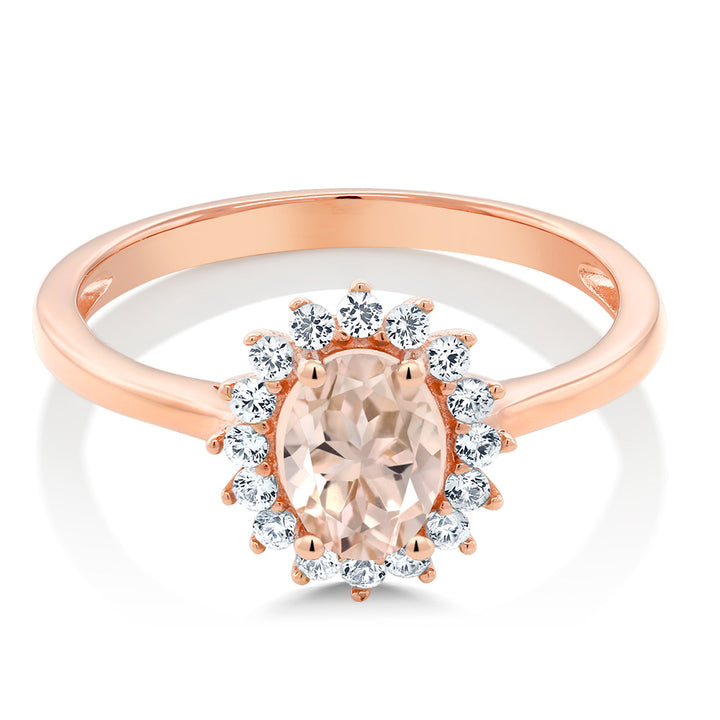 0.89 Ct Oval Peach Morganite White Created Sapphire 10K Rose Gold Ring
