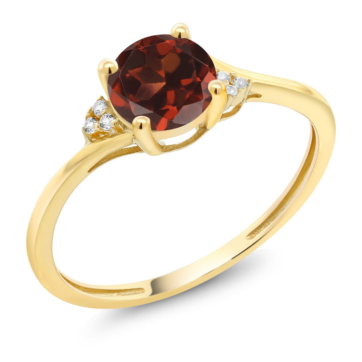 10K Yellow Gold Red Garnet and Diamond Accent Engagement Ring 1.05 Ct Round (Available 5,6,7,8,9)