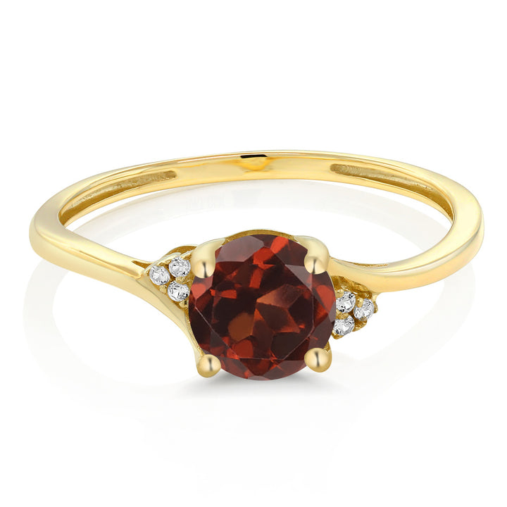 10K Yellow Gold Diamond Accent Engagement Ring 1.05 Ct Round Red Garnet
