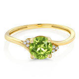10K Yellow Gold Diamond Accent Engagement Ring 0.90 Ct Round Green Peridot