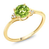 Gem Stone King 10K Yellow Gold Green Peridot and Diamond Accent Engagement Ring 0.90 Ctw Round (Available 5,6,7,8,9)