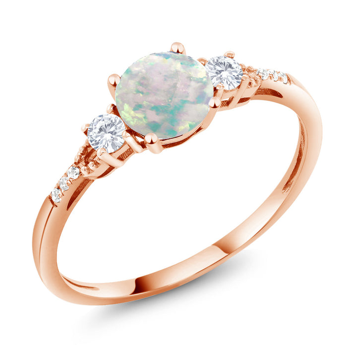 10K Rose Gold Cabochon White Simulated Opal White Created Sapphire Women's Ring (0.89 Ct Available 5,6,7,8,9)