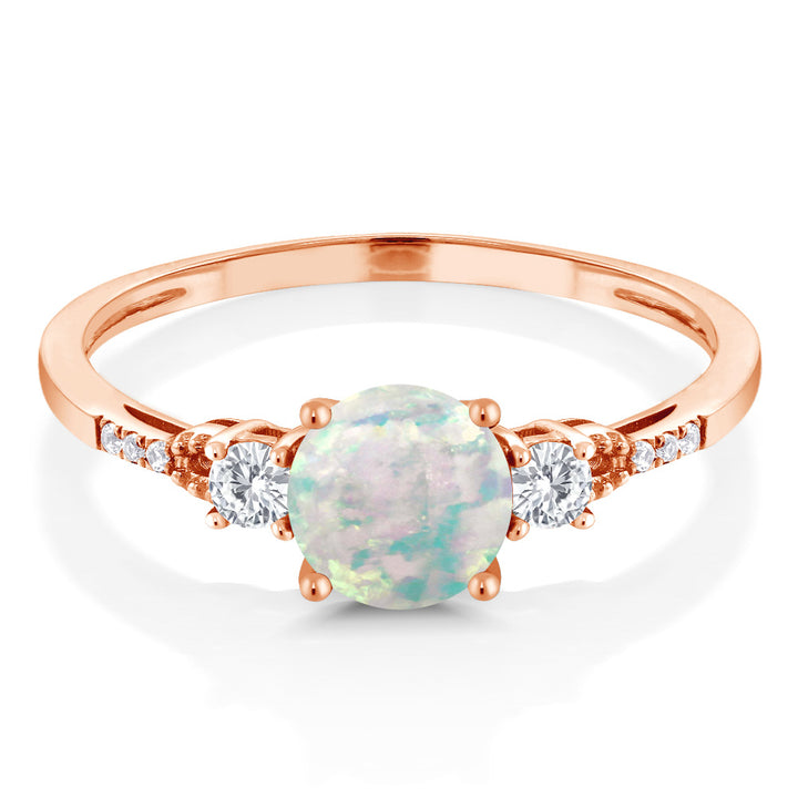 0.89 Ct Cabochon White Simulated Opal White Created Sapphire 10K Rose Gold Ring