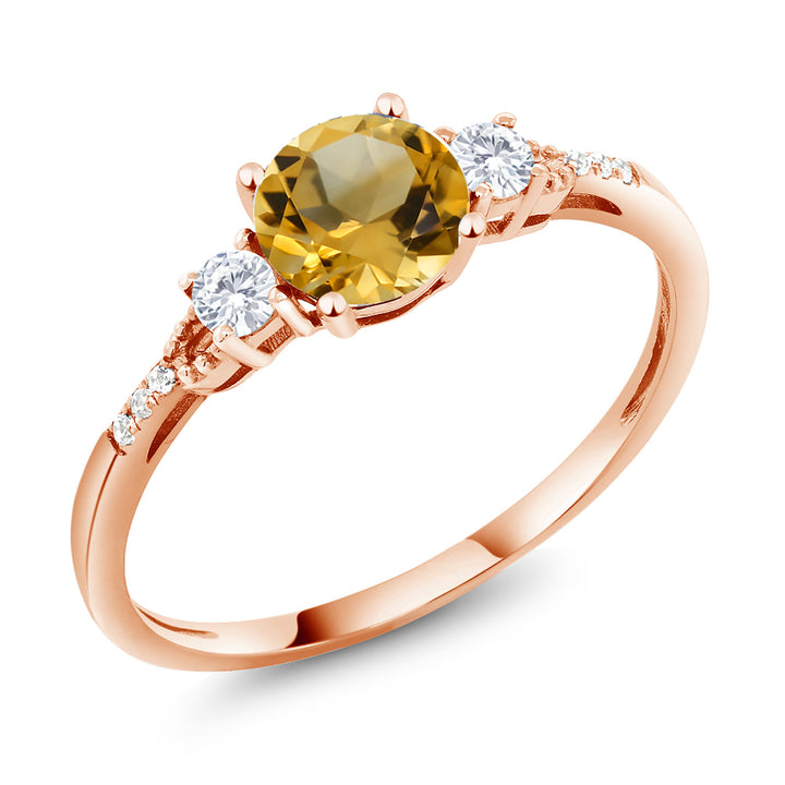 0.84 Ct Round Yellow Citrine White Created Sapphire 10K Rose Gold Ring