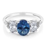 Diamond Accent 10k White Gold 2.35Ct Oval Blue Mystic Topaz White Topaz Ring