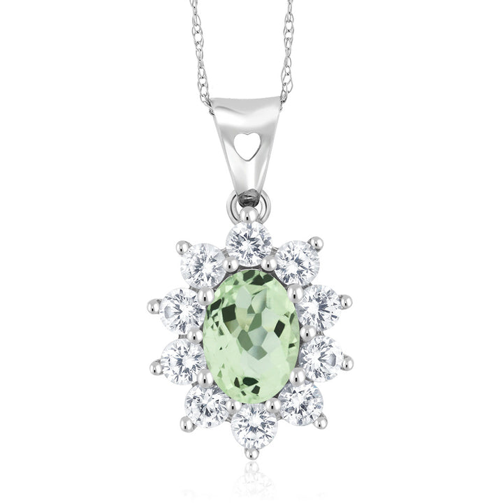 Gem Stone King 10K White Gold 1.25 Ct Green Prasiolite Women's Oval Halo Pendant with Chain
