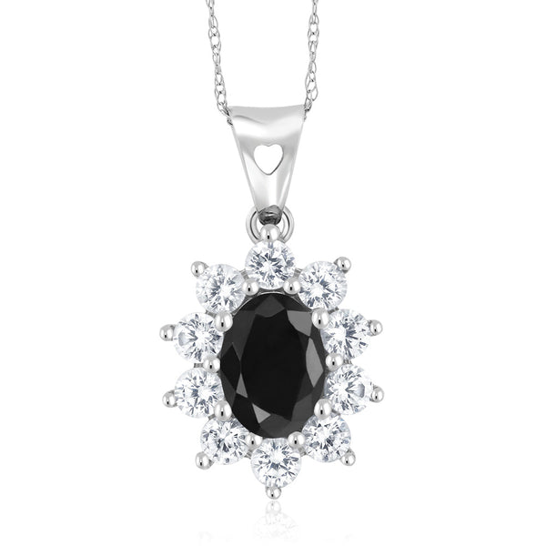 Gem Stone King 10K White Gold 1.57 Ct Black Sapphire Women's Oval Halo Pendant with Chain