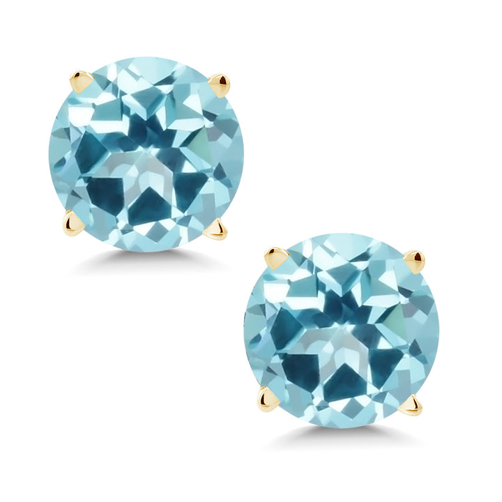 14K Yellow Gold Earrings Set with Round Ice Blue Topaz from Swarovski