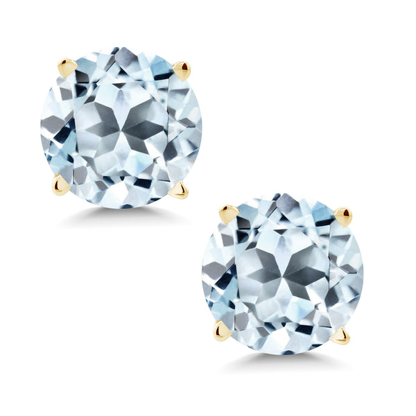 Gem Stone King 1.80 Ct Round 6mm Sky Blue Topaz 14K Yellow Gold Stud Earrings