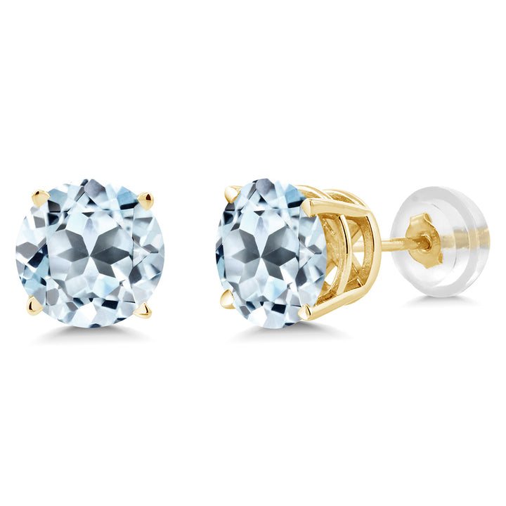 1.80 Ct Round 6mm Sky Blue Topaz 14K Yellow Gold Stud Earrings